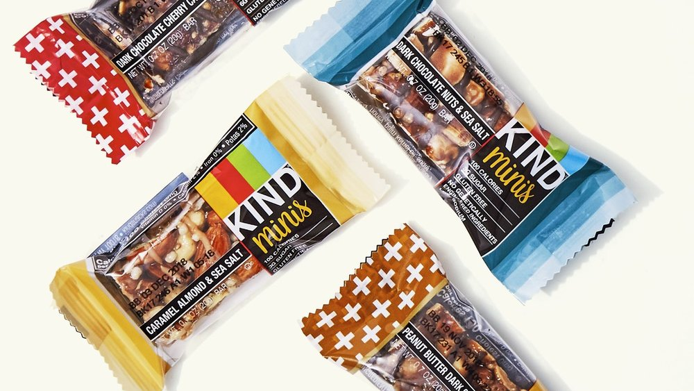 Kind Bar Minis - I love these minis for when you just need a little bite of something to tide you over.Calories: 100 // Protein: 3gm // Sugar: 3gm (2 gm added sugar)