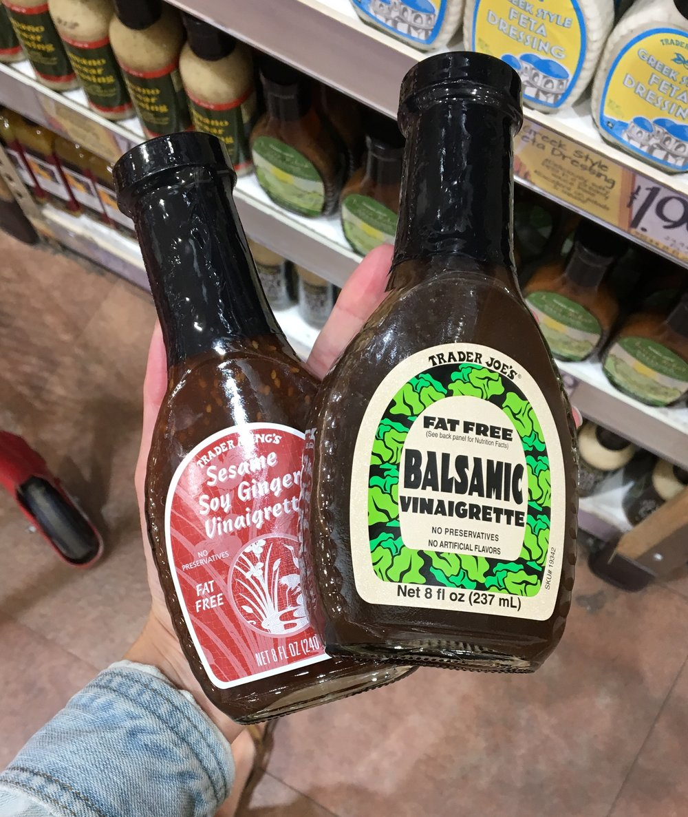Low calorie dressings - The fat-free balsamic vinaigrette and the sesame ginger dressing are my favorites!