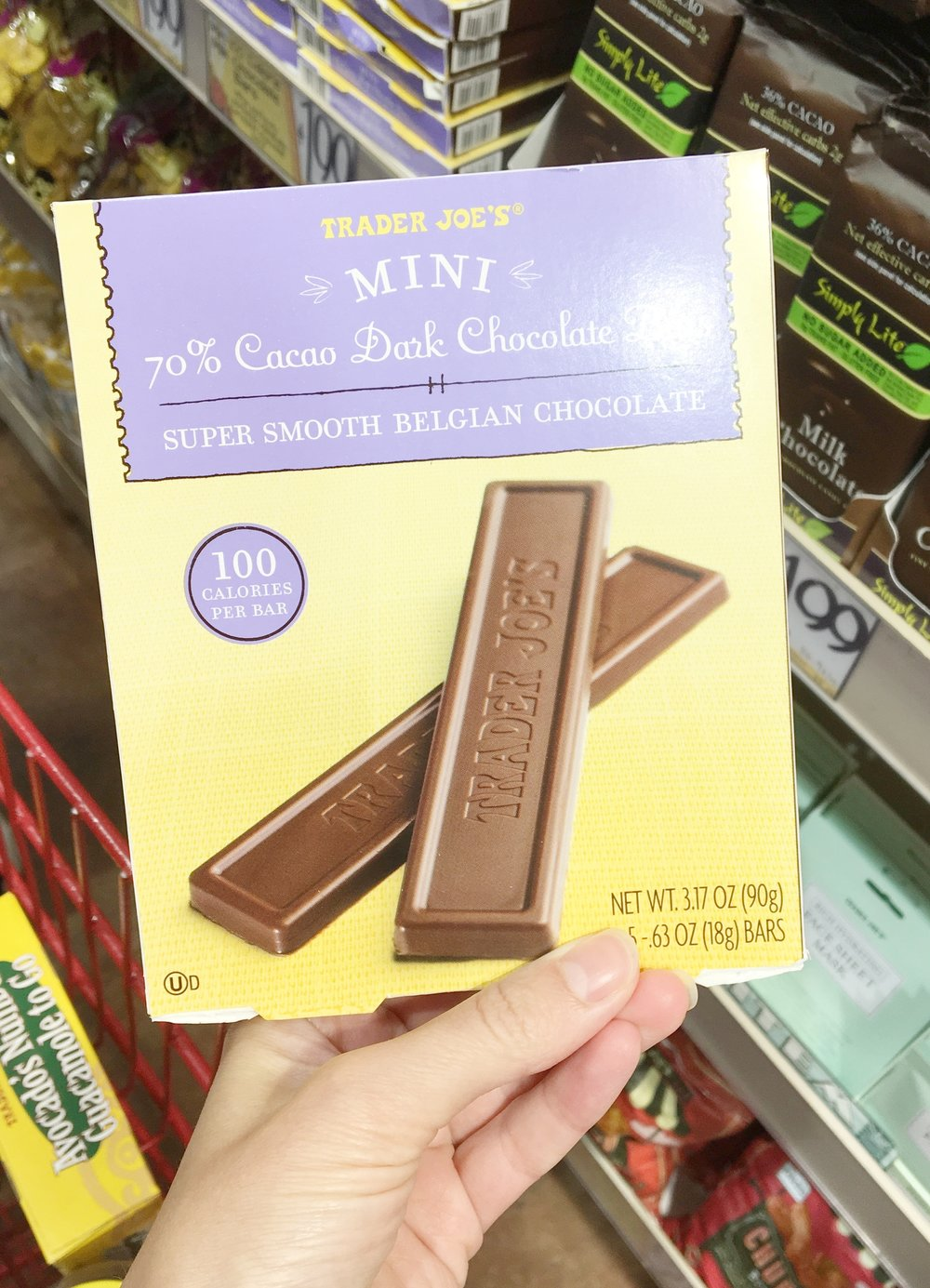 100-calorie chocolate bars - I actually prefer the milk chocolate!