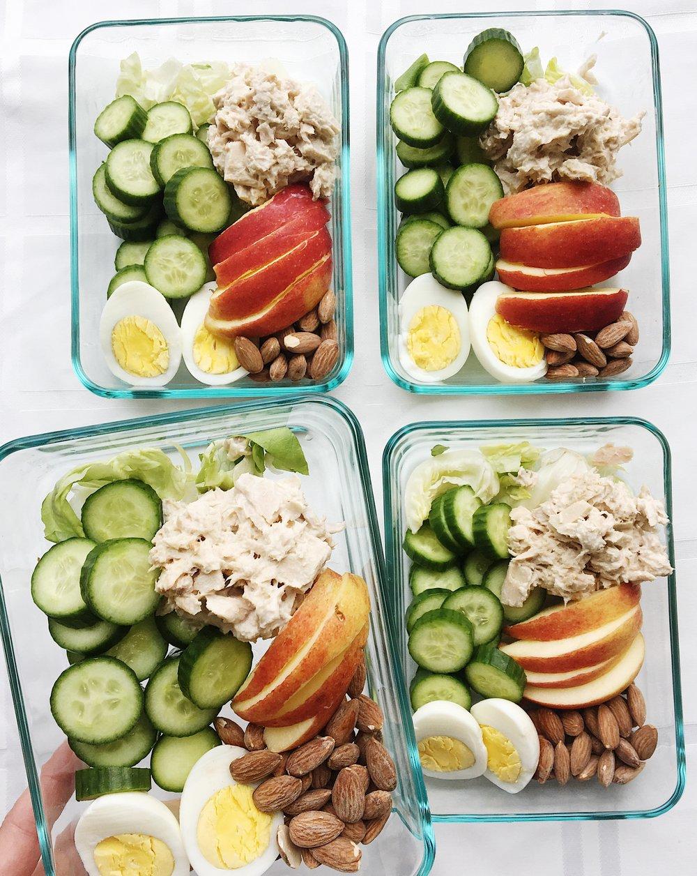 college nutritionist with tuna salad