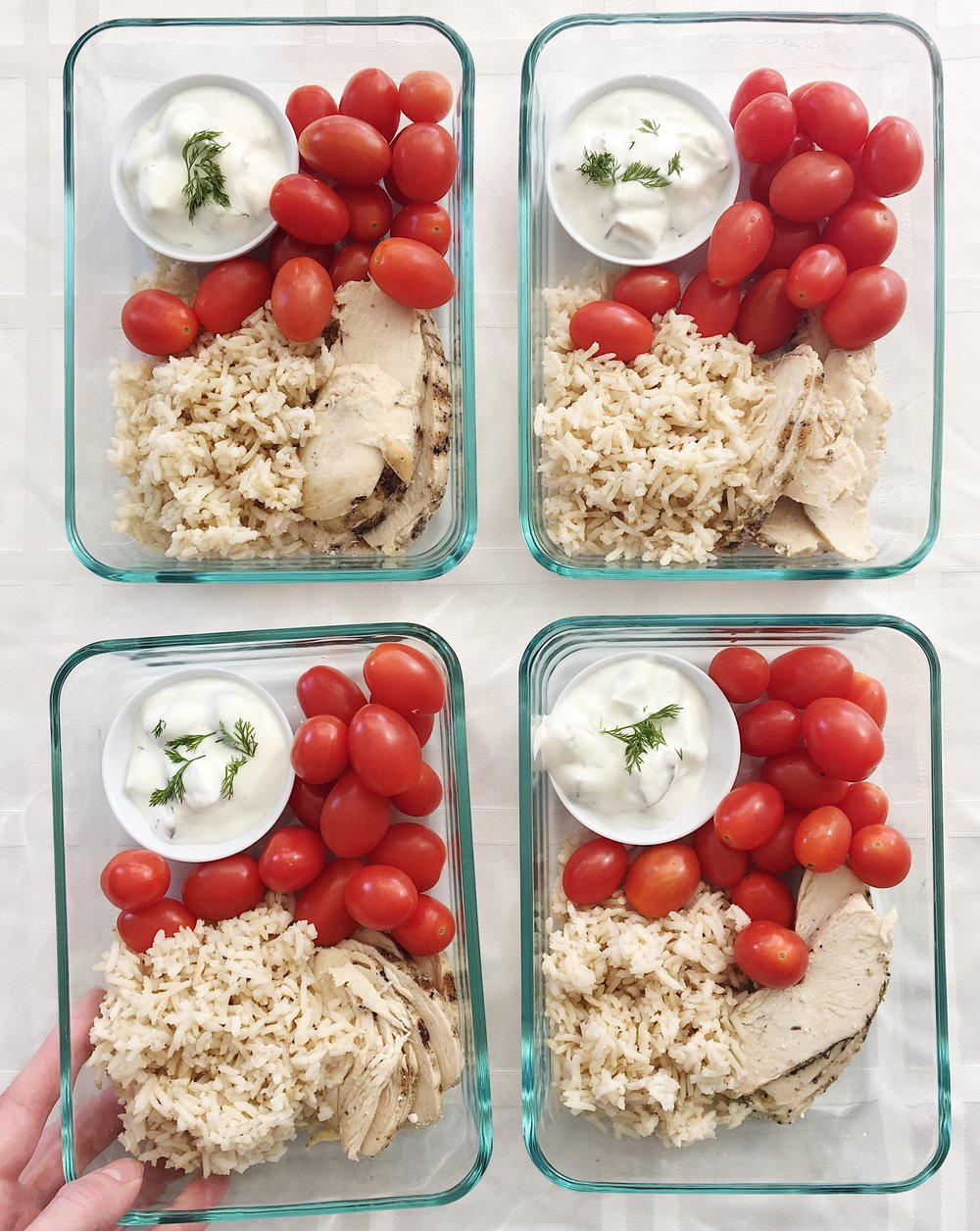 college nutritionist lunch chicken and rice with tzatziki