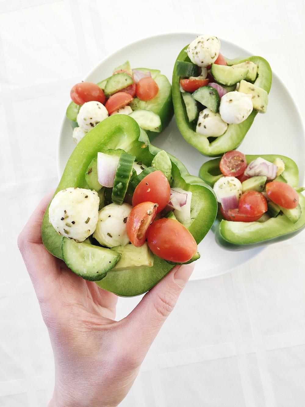 bell pepper sandwich mozz balls