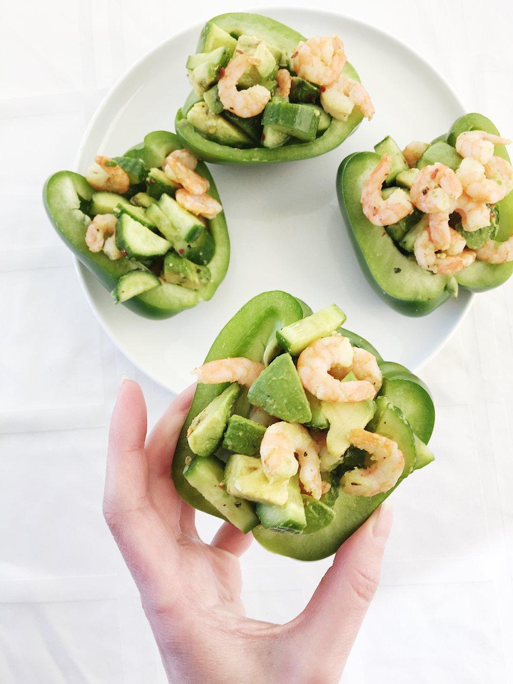 shrimp bell pepper sandwiches