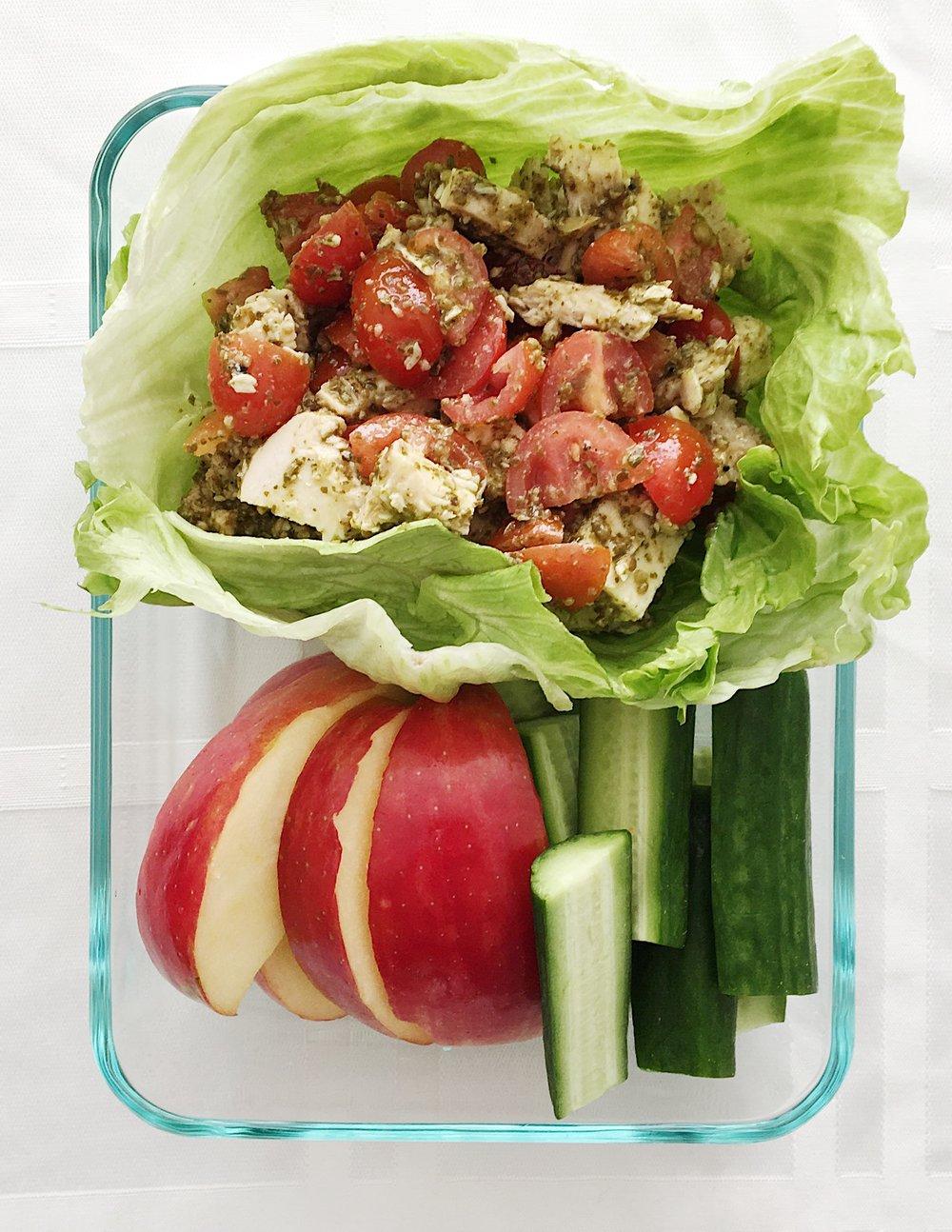 pesto chicken lettuce wraps