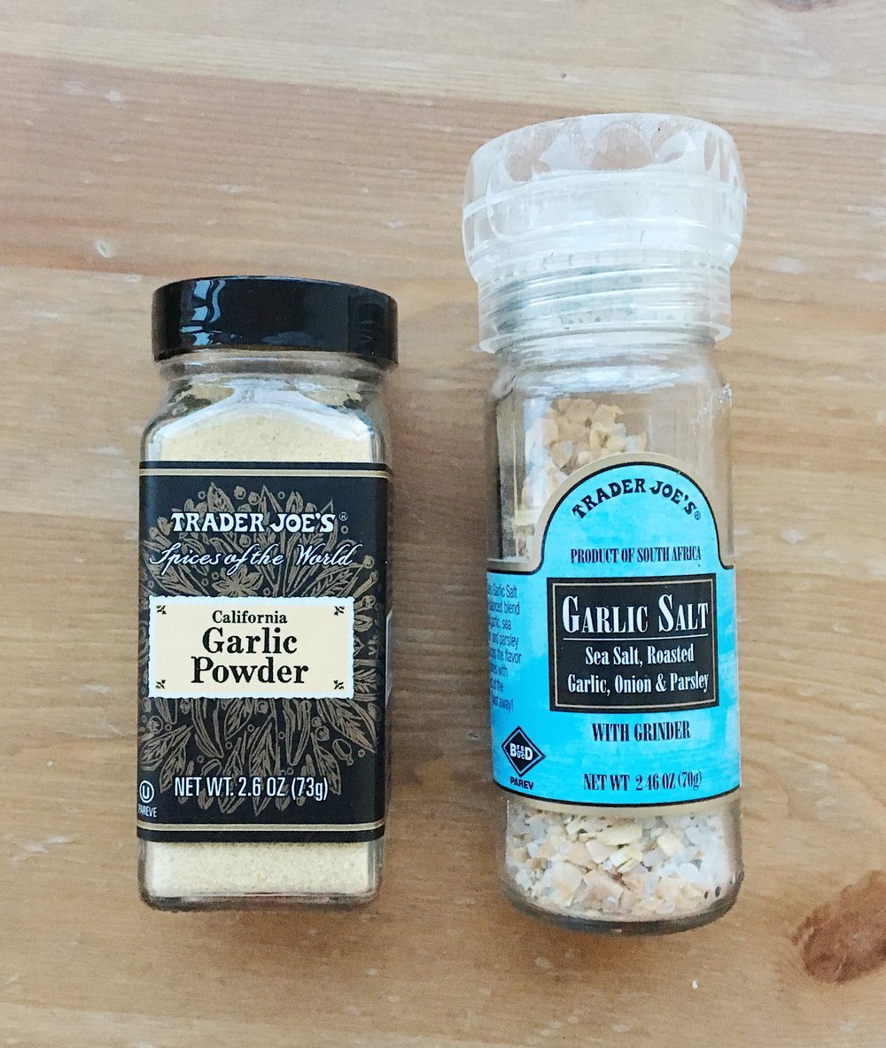 Garlic seasoning and garlic salt Trader Joe's