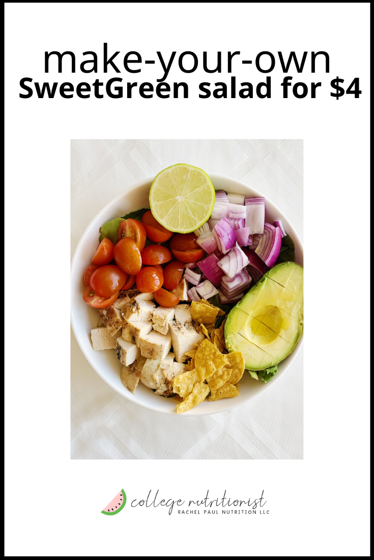 Diy 4 Sweetgreen Guacamole Greens Salad The College Nutritionist