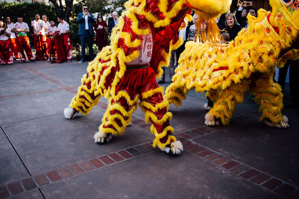 Chinese lion dance at wedding
