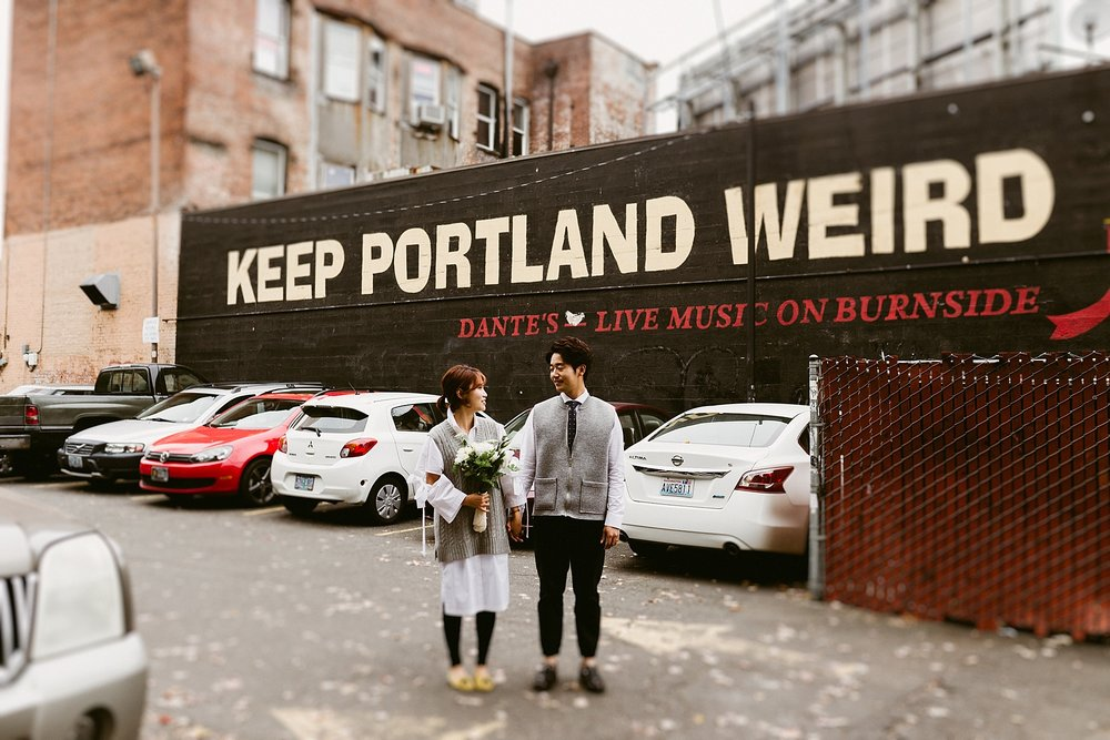 Downtown Portland Engagement Session - keep portland weird