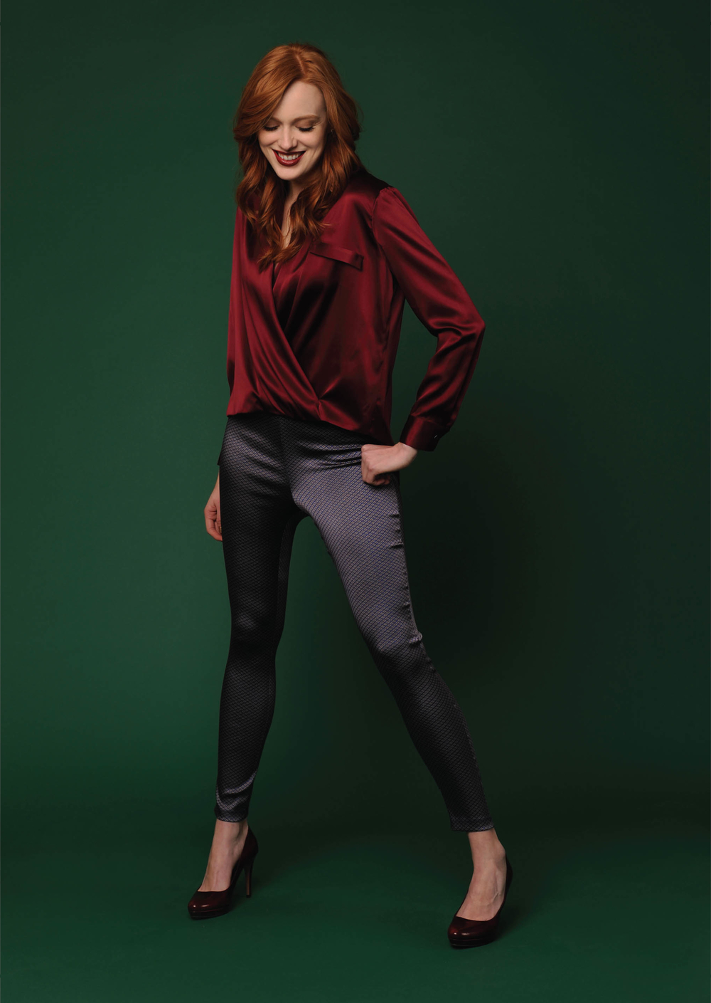 stretch charmeuse wrap blouse  wine   stretch diamond jacquard skinny ankle pant  sapphire