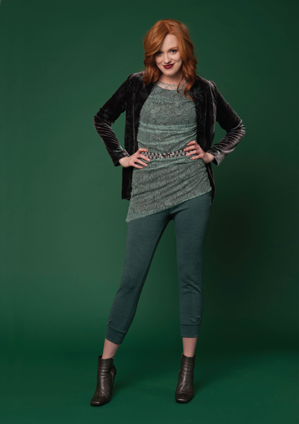 printed silk velvet cardigan  smoke/mint   grecian lace sleeveless top w/ knit lining   soft mint/charcoal   french terry crop sweatpant   ivy heather   elastic braided belt with crystals   mint