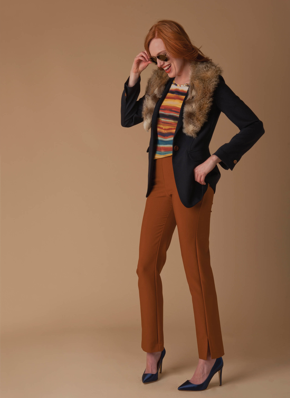 wool blazer with detachable fur collar  ink   silk printed tank with knit back  multi-spice stripe   lean line stretch pant  spice