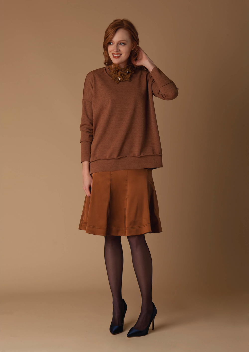 knit crepe sweatshirt  camel   seamed stretch silk charmeuse skirt  nutmeg   embroidered silk chiffon necklace with crystals  honey