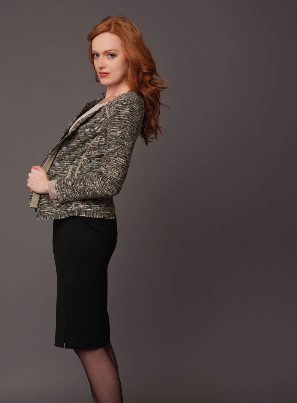 tweed seamed zip jacket  salt and pepper   long sleeve perfect tee  pale taupe   high waist ponte knit pencil skirt  black