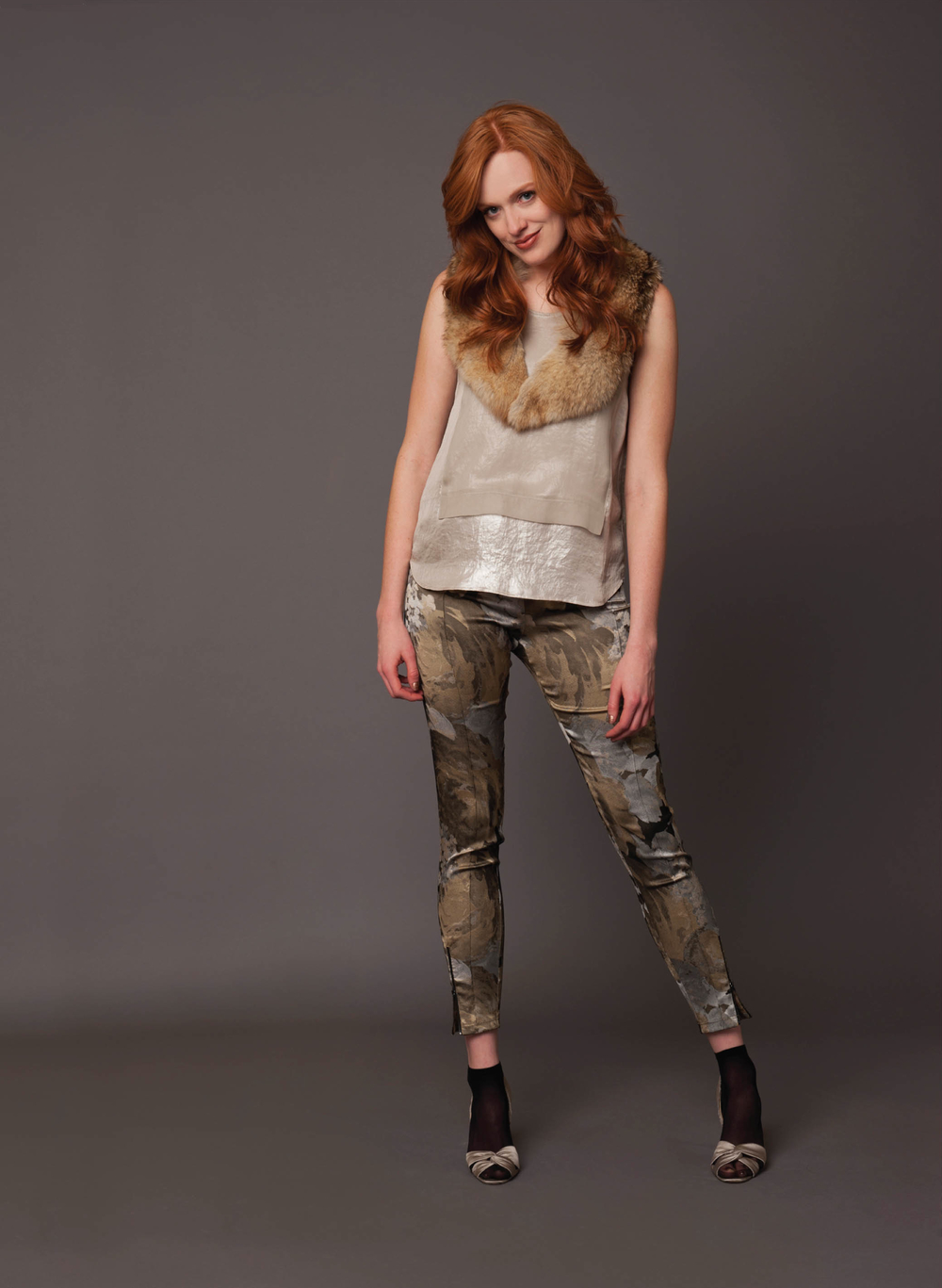 sleeveless top with chiffon overlay  pale taupe shimmer   stretch floral jacquard skinny pant with zips  neutral shimmer   fur collar with hook  dark blonde