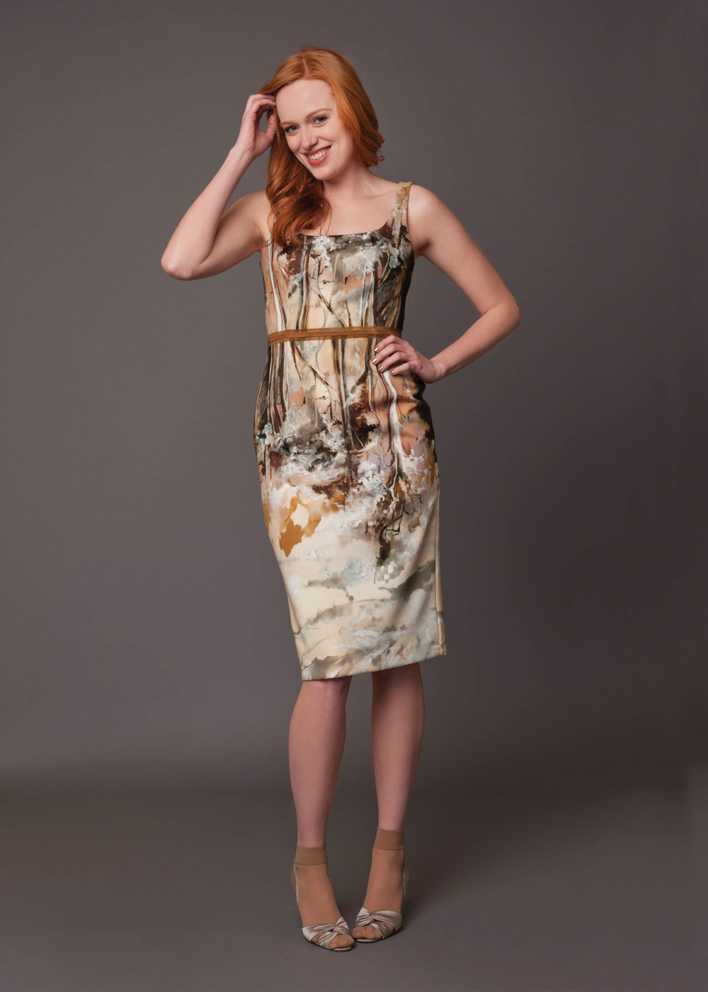 fantasy forest print dress with suede trim and back zip  multi-neutral