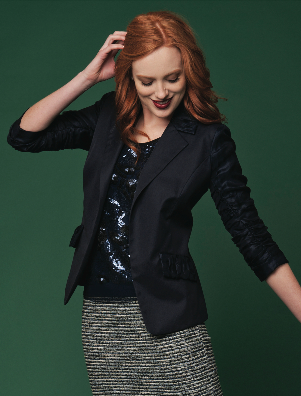 fitted jacket with silk mesh ruched sleeves  dark navy   patterned sequin tank  navy/black   tweek pencil skirt  blue