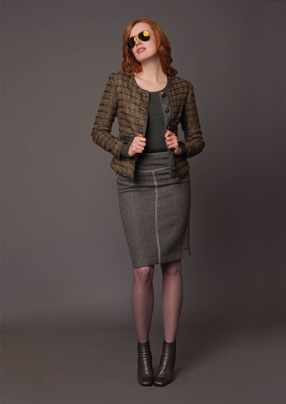 boucle plaid jacket  bronze/pewter   long sleeve modern tee  charcoal   herringbone pattern seamed skirt with suede trim  steel grey