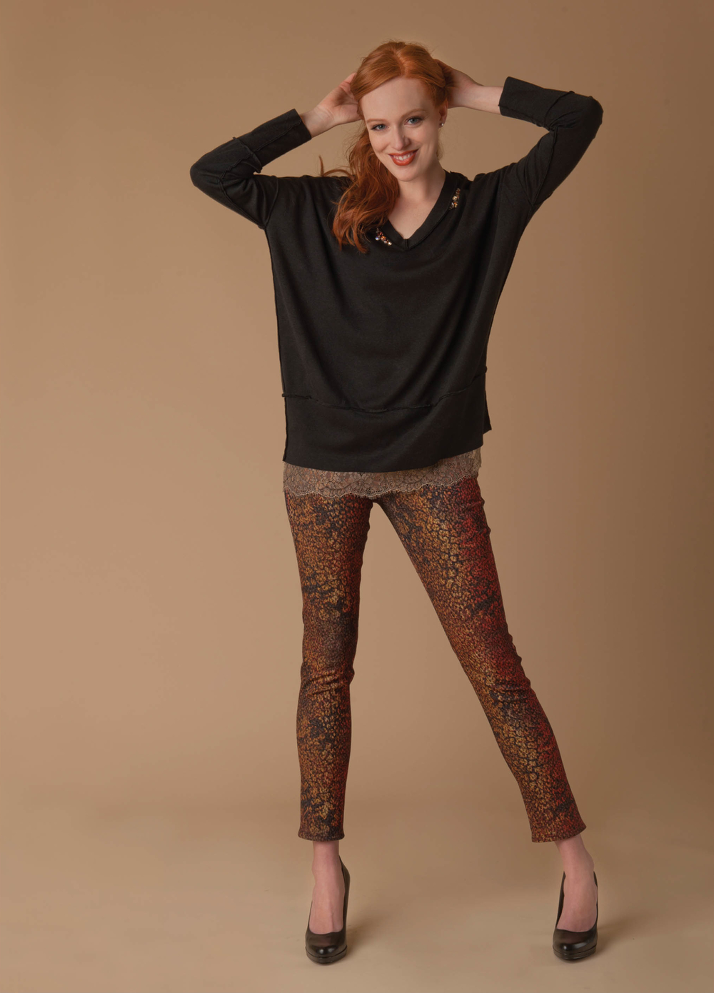 relaxed knit top with crystals and lace  black   stretch jacquard texture jean  mix spice