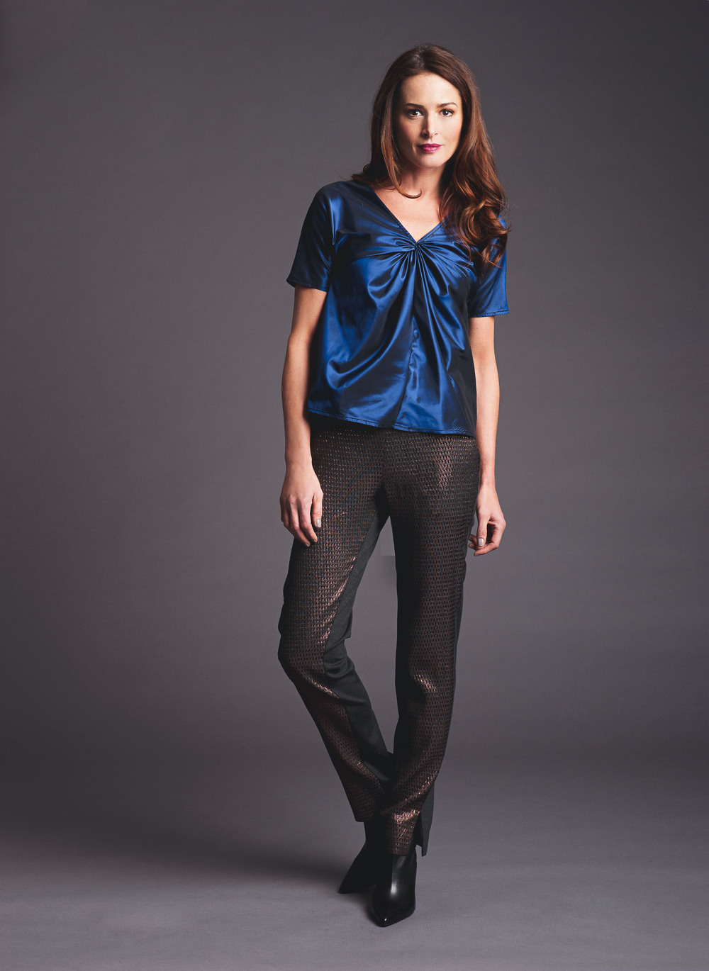 twisted top mixed media pant