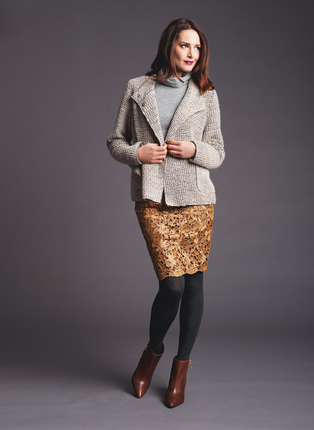 chunky knit jacket sleeveless funnel neck sweater gilded lace skirt