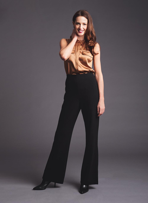 silk blouse high waisted pant
