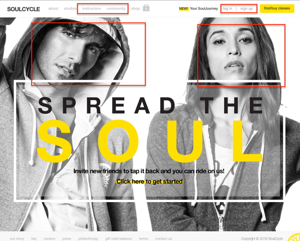 SoulCycle's home page. See all the social elements at the front and center.