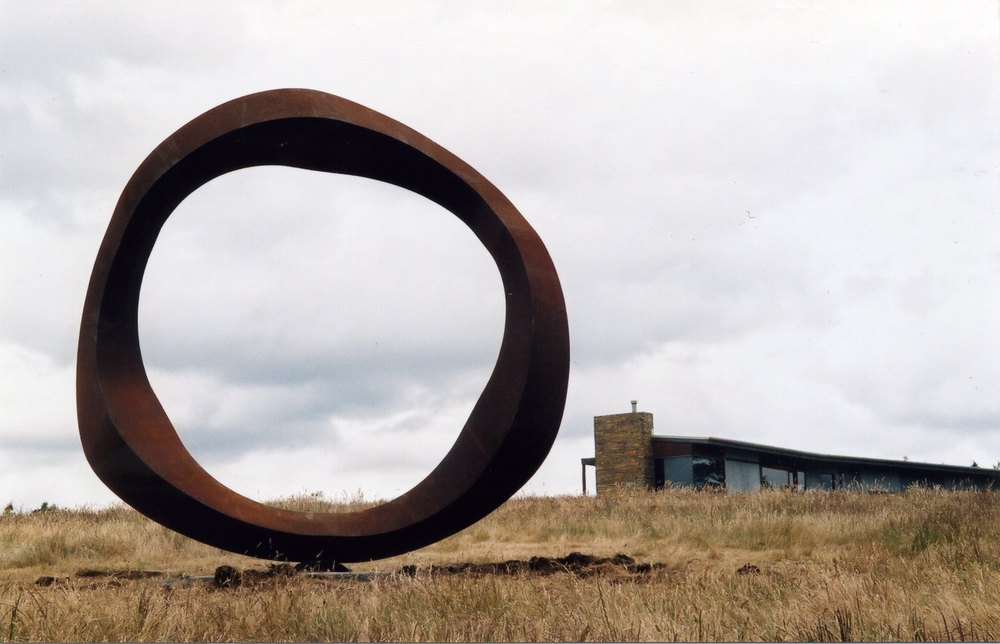 Greg Johns, Wavering Circle, 1984 Corten steel 3.5 metres high.  Holmes a Court Collection. Western Australia