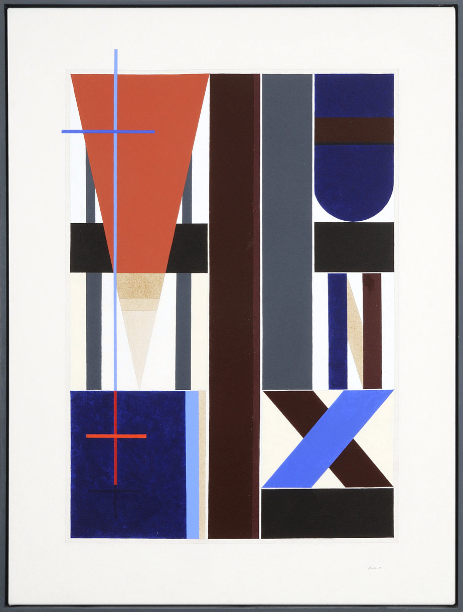 Construction with Red Oxide Triangle, 2007 acrylic on linen,     122 x 93cm    $13,500