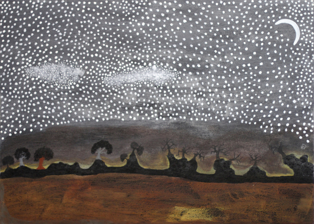 Rusty Peters,    Moon Dreaming   2014 natural ochres and pigments on canvas 90 x 120 cm SOLD