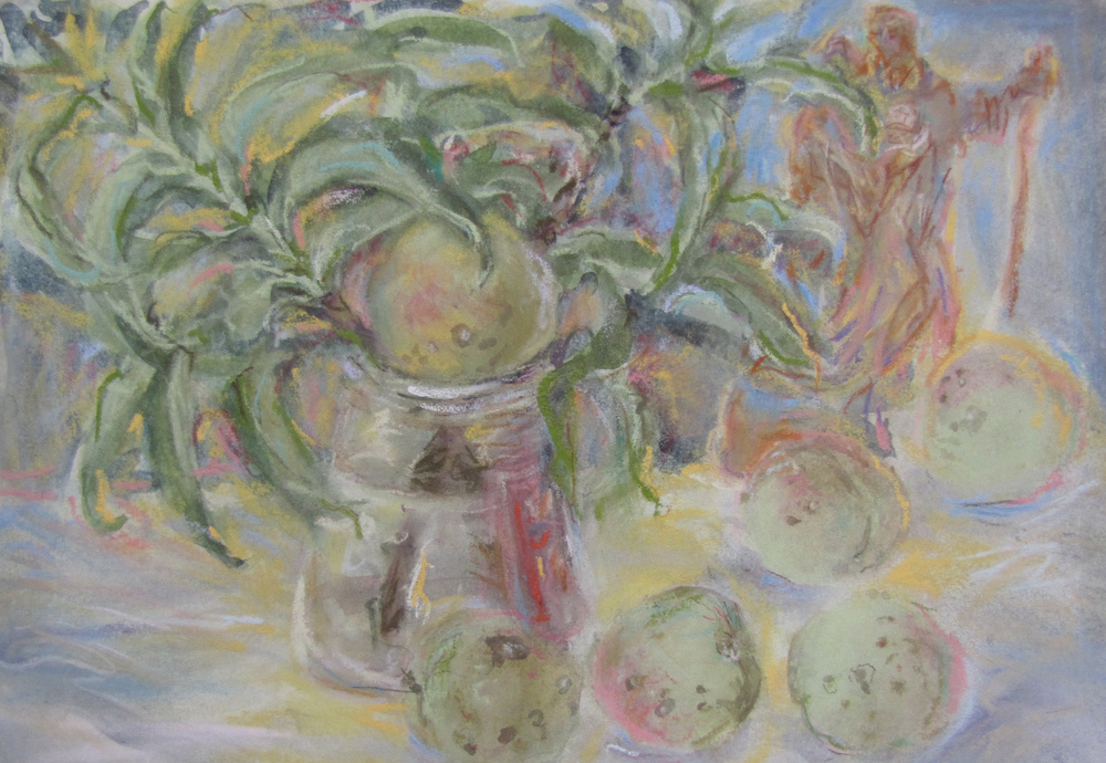 Wild peaches with leaves and figurine. 2006-15