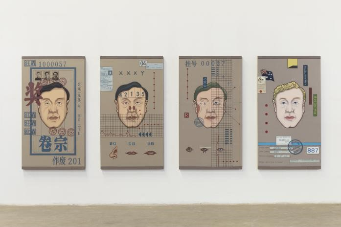 "Guan Wei, Plastic Surgery.  2015,  acrylic on linen, 180 x 401 cm (overall) Artist's  statement about this painting: Plastic Surgery --- a portrait of an immigrant artist Guan Wei 2015 Status refers to not only a person's social status but also one's value and importance. Our anxiety about the identity reflects our concern about social status. It is difficult to get rid of this anxiety, no matter whether our life is going smoothly or not. How come our status can consume our life so badly? That's easy to answer: how people treat you depends on your status. People will smile and try to flatter you when you are becoming successful; whereas they will not be bothered to talk to you once you are out of the game. Thus, we are all afraid of losing our social status. This is particularly important to an immigrant artist living overseas and who is wondering how to become mainstream, how to get the respect and recognition of locals while still keeping his own dignity. Plastic Surgery, is telling people one of my stories. As an immigrant artist living in a new surroundings, one needs to keep adjusting and improving themselves for it. The first-generation of immigrants live with two cultures, in two countries and use two languages. They are living with memories of history as well as real life in another country. In other words, they are living on an ambiguous border while struggling. Plastic Surgery truly reflects my life. Plastic Surgery consists of 4 canvases. The first one represents one's memory of his mother country. His portrait is on the cover of a huge personal file. Everyone has a secret file in China, which includes records since you were born, as well as information including your primary school, high school, university, work, marriage, parents, and children. The file will be with you until your death. However, you will not have access to the file, as the government keeps it. This shows the power of country is everywhere, which controls people's life and freedom. The individual becomes a code or symbol in this massive state apparatus. The 2nd and 3rd canvas reflect my life after I came to Australia in a virtual way. I use Plastic Surgery to show you how I fit into Australia. There are diagrams of my DNA and blood type as analysed by computers, a report of my health, along with a chart of Westerners' features, such as thin lips, high nose, blue eyes, etc, for reference and reform. The reconstruction of the scene, the splitting and misplacing of subjects, are to evoke an emotional experience of re-confirming one's identity in a foreign place from whom have suffered a similar situation as me. Such process is miserable but the emotional feelings are real. The 4th canvas represents a confirmation of a new identity. It includes an immigration form 887, a certificate of Australian Citizenship, number of bank account and health care, ABN, passport, etc, all the documents that can prove your new identity. The name on the business card also changed from Guan Wei into David Guan. From this, you can tell an individual has to exist in the culture and surroundings of whom is living in. The experience of living in a culture has significant effect on the person; surroundings play an important role in people's self-identification. The society defines you based on your behaviour: they accept or reject you! All immigrant artists wish to be the one being accepted and recognised in a new surroundings, and also wish to become just another Australian! Overall, Plastic Surgery is my imagination of reality and memory. Getting a ""plastic surgery"" for myself in a humorous way represents the change of my identity from a Chinese into an Australian. I have expressed my emotional experience over the years via changes of time, all sorts of forms, and stamp such concealed social structure. The purpose is to have a new perspective of self-existence, surroundings, and time. I also tried to create a new way of portrait by exploring ancient portrait artwork."