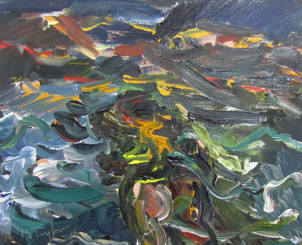 The down wind.  2015. Oil on cotton 40 x 51 cm $4,000