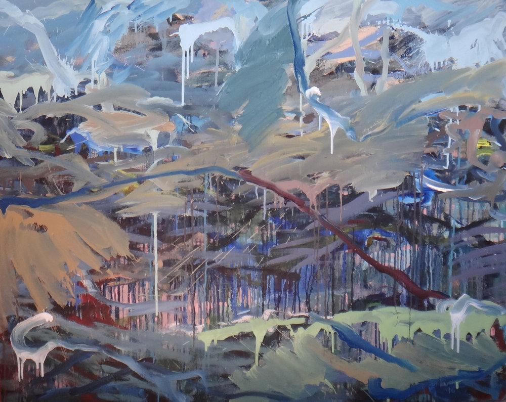 The rain has passed.  2016. Oil on canvas 96 x 122 cm $7,000