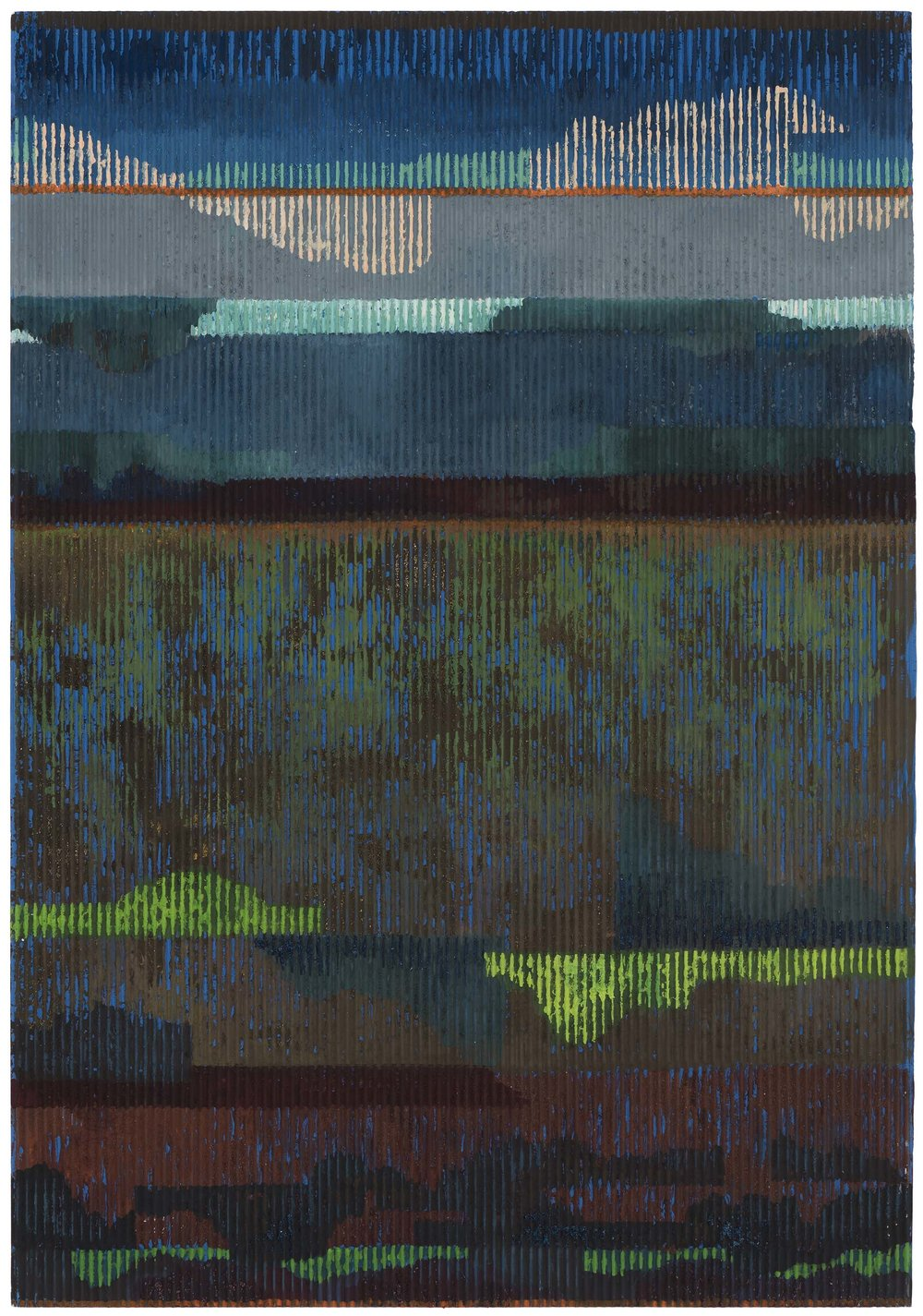 Midsummer night 4 (with clouds). 2015. gouache and acrylic on corrugated card. 50 x 35 cm. SOLD