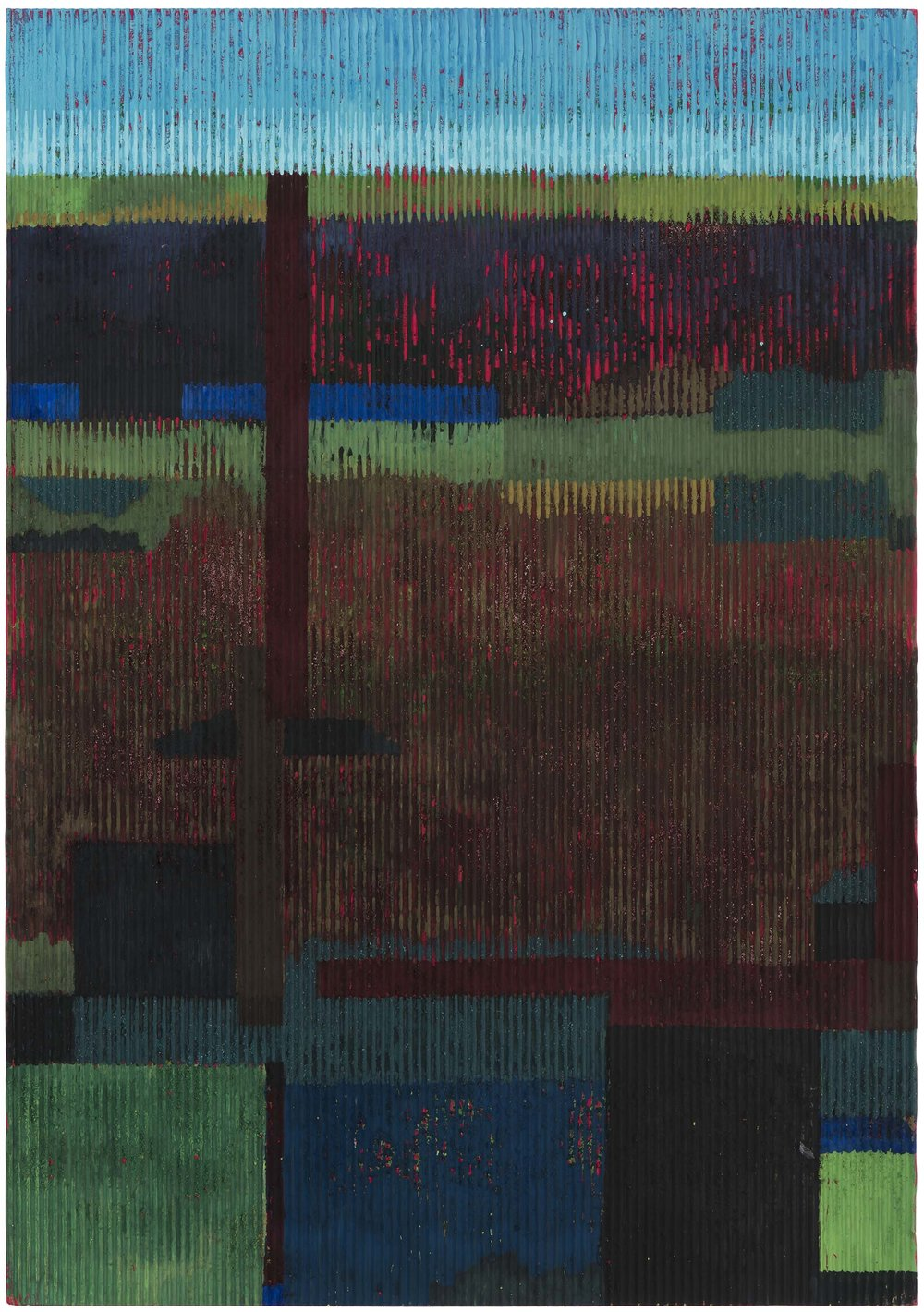 Midsummer night 1 (on red). 2015. gouache and acrylic on corrugated card. 50 x 35 cm. SOLD