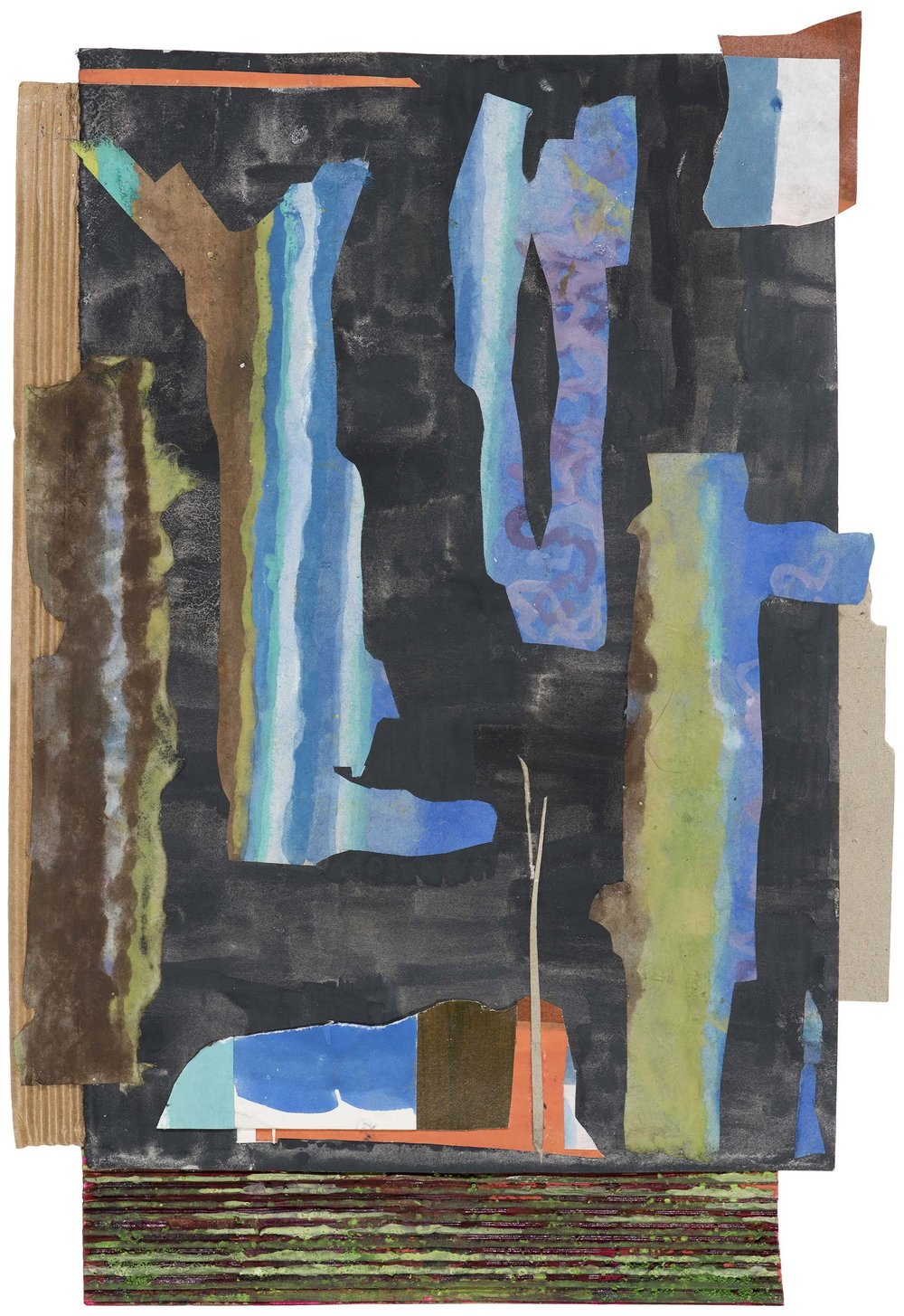 Several trees.  2015.  gouache collage.  43 x 33 cm.$1,000