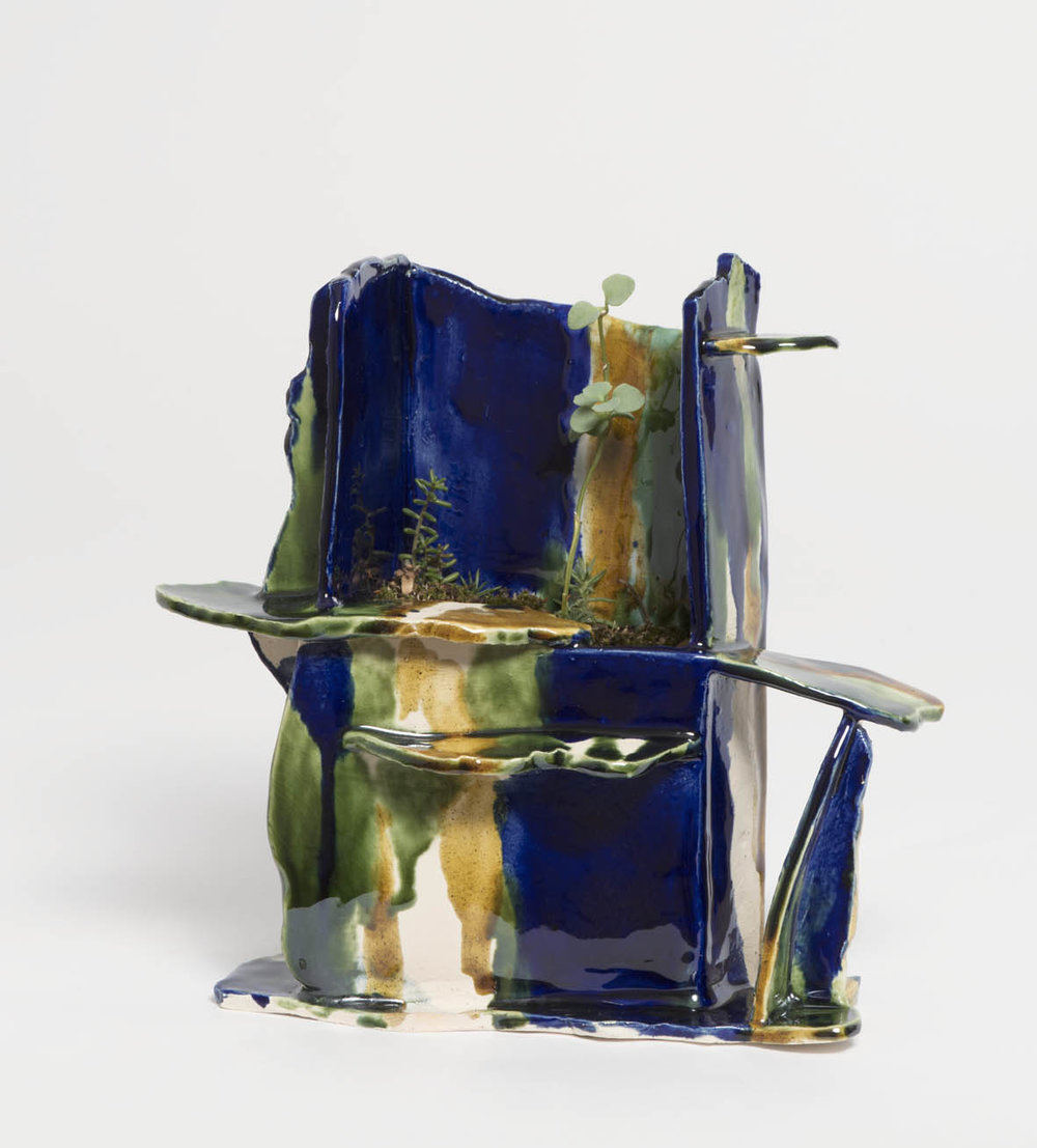 High garden in Cobalt blue, 2016, earthenware, glazed ceramic, 18 x 8 x 21 cm.SOLD