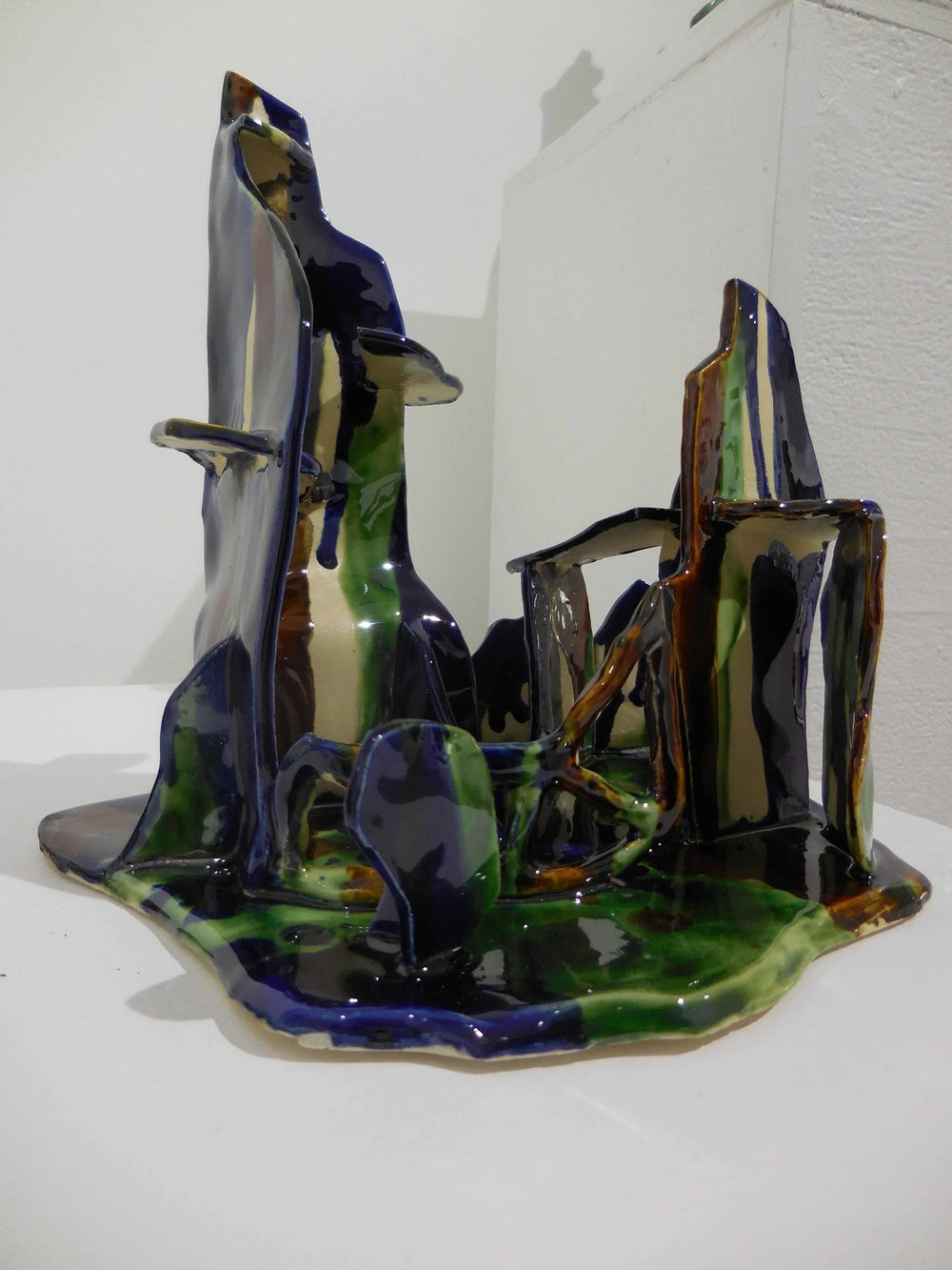 Lost village. 2017.  Earthenware, glazed ceramic. 20 x 18 x 21 cm $700