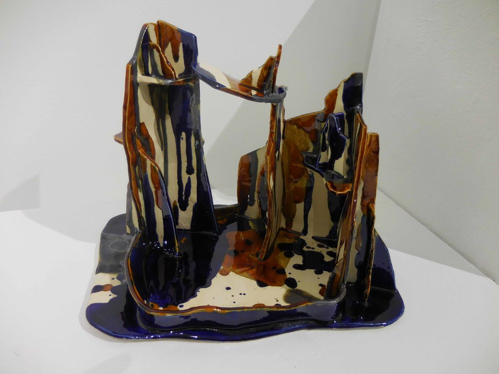 In high places. 2017  Earthenware, glazed ceramic. 25 x 17 x 21 cm. $750