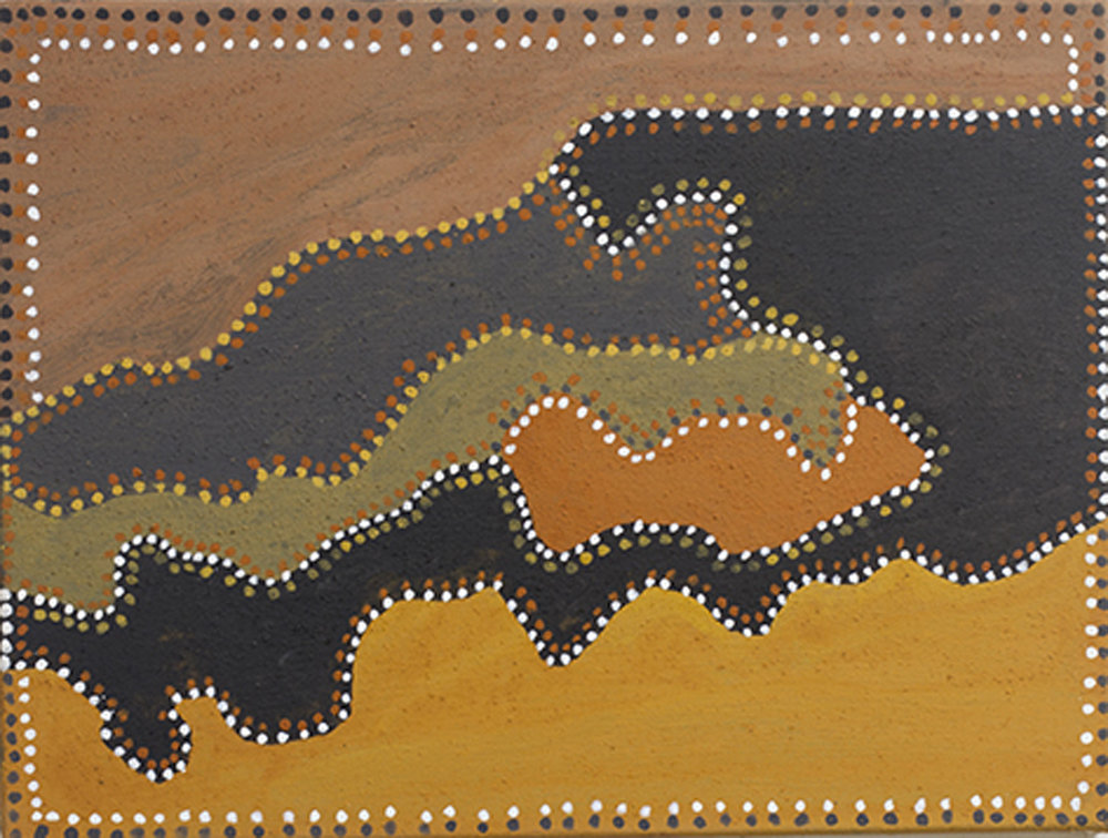 Rusty Peters, Middle Creek, 2015, natural ochres and pigments on canvas, 45 x 60 cm SOLD