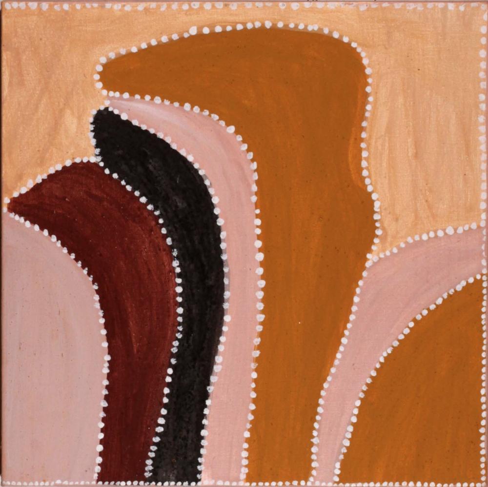 Peggy Patrick, Loomoogoo Ngarranggarni. 2015.Natural ochres and pigments on canvas. 60 x 60 cm. $900