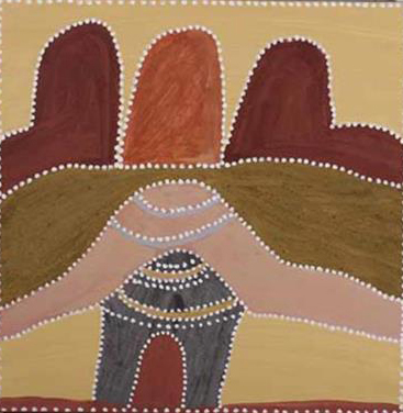 Betty Carrington. Ngarrgooroon Country. 2016.Natural ochres and pigments on canvas. 60 x 60 cm. $1,800