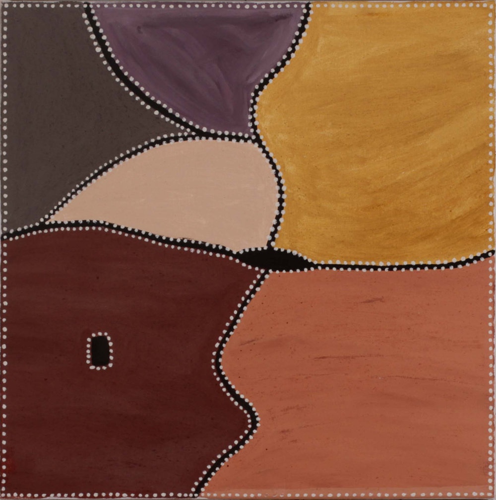 Kathy Ramsay. Bow River country. 2016. Natural ochres and pigments on canvas. 60 x 60 cm.SOLD