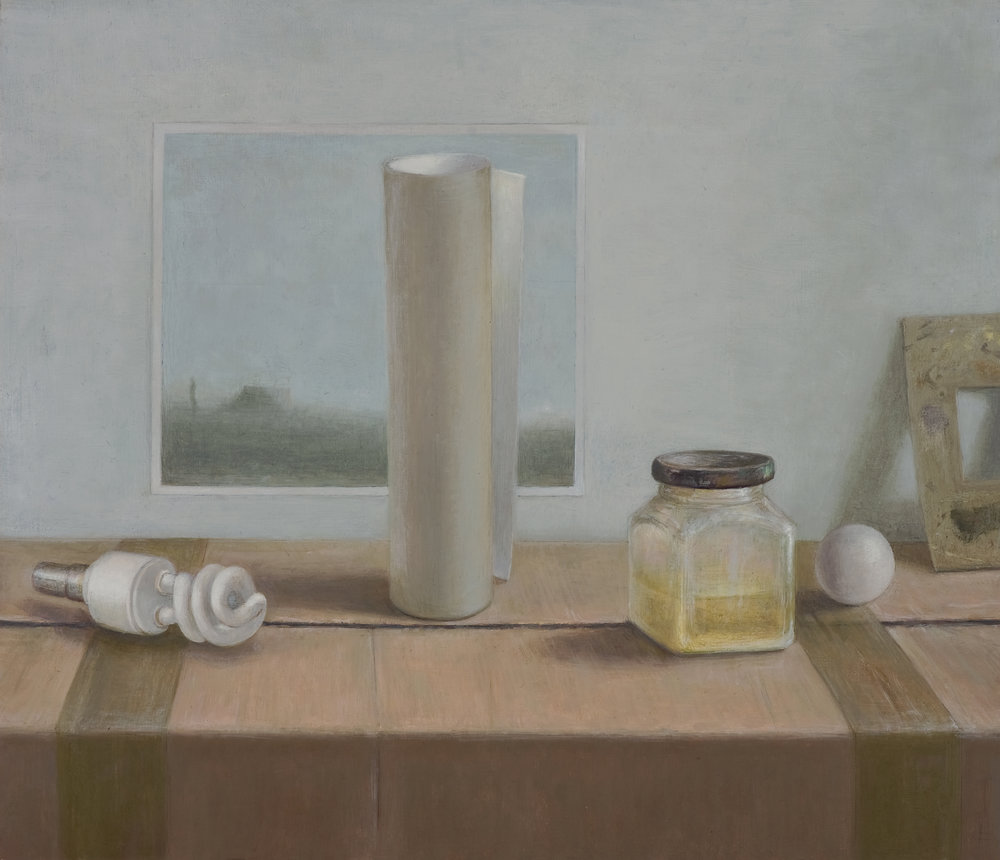 Still Life with spiral light bulb  2014  Oil on linen 40x46cm$4,500