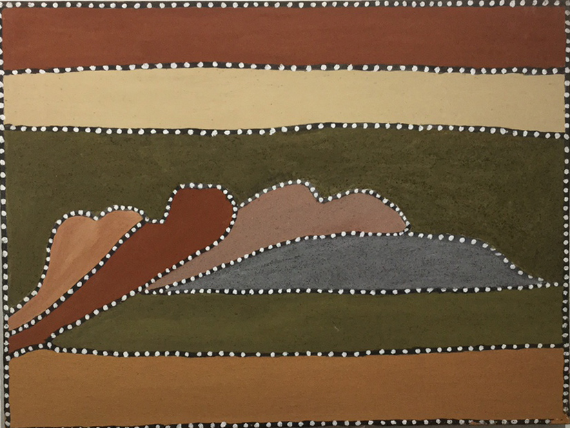 Beerbee Mungnari. Blackfella Creek.  2009. Natural ochres and pigments on canvas. 60 x 80 cm. SOLD
