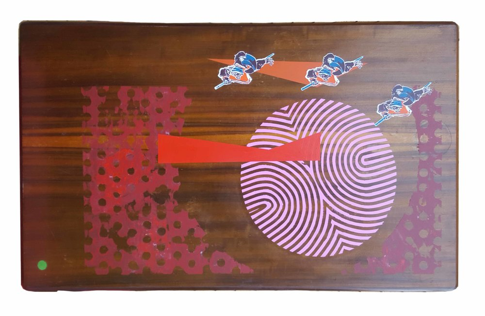 Untethered thoughts swimming. 2017 enamel spray paint on reclaimed timber table top 106 x 170 cm $2,800