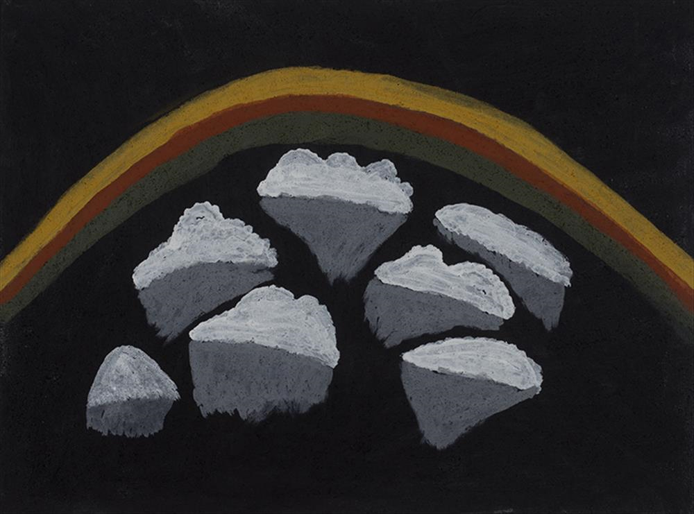Mabel Juli, Tharriyarrel  (rainbow).  2013   natural ochre and pigment on canvas.  60 x 80 cm  $3,200