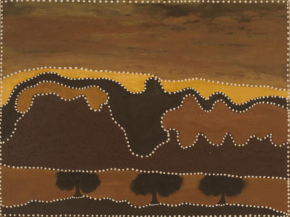 Rusty Peters, Three nyawana in Yarini country.2012 natural ochre and pigment on canvas 60 x 80 cm $3,200 SOLD