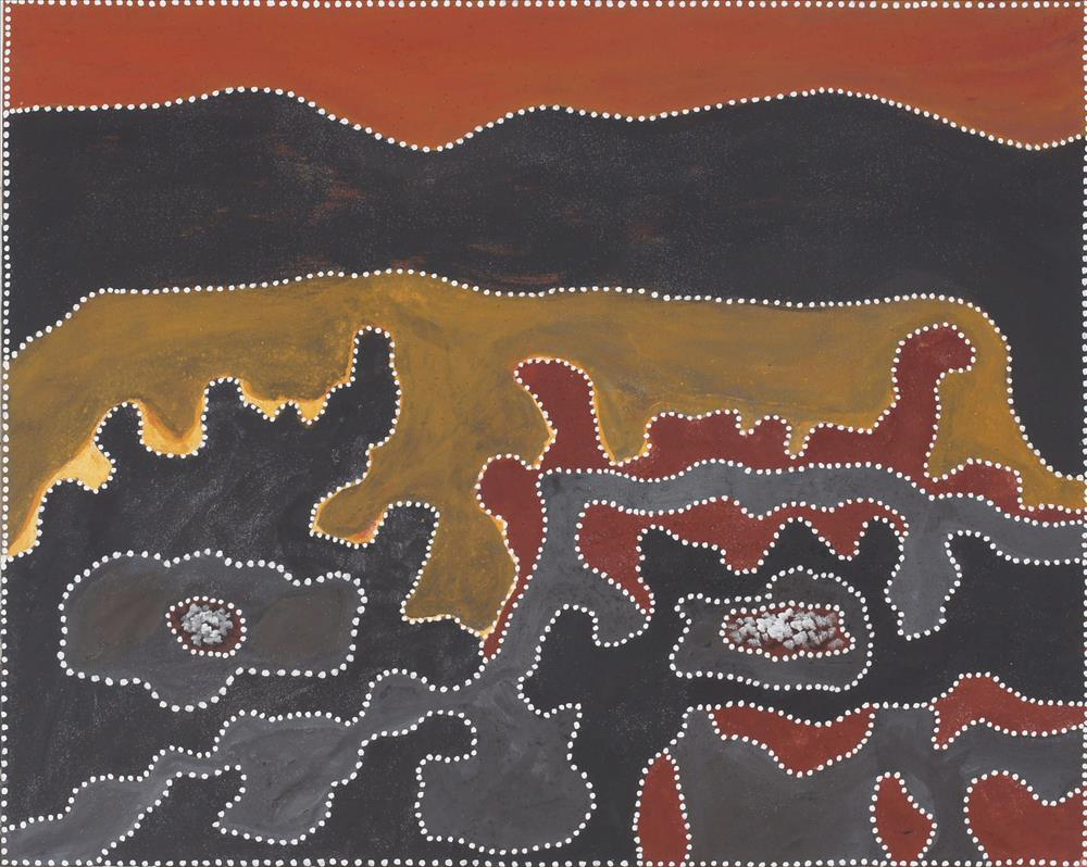 Rusty Peters, Warlu Taam.  2012 natural ochre and pigment on canvas 80 x 100 cm $5,000