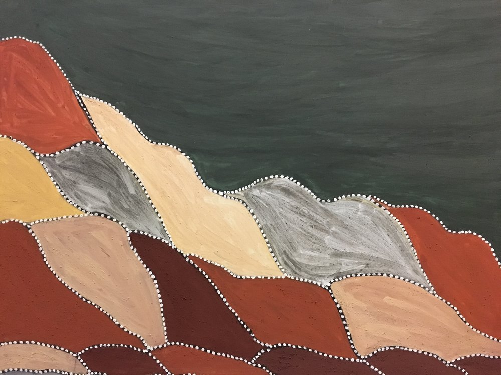Gordon Barney, Birno country 2014      natural ochre and pigment on canvas   90 x 120 cm  $4,000